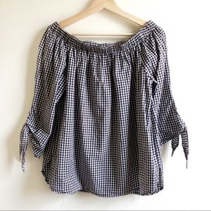 BeachLunchLounge | Gingham Off the Shoulder Top